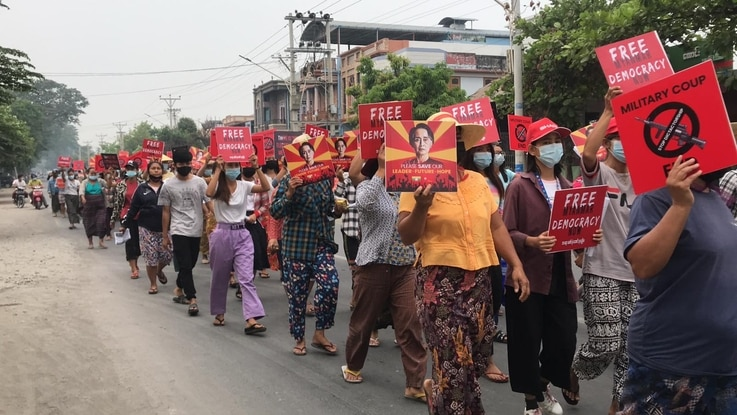Anti-coup protests continued today, April 17, 2021, in Kalay, Sagaing region, where 11 demonstrators were killed by security forces 10 days ago. (Credit: Citizen journalist via VOA's Burmese Service)