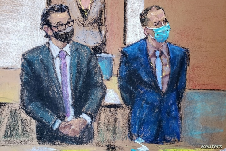 Former Minneapolis police officer Derek Chauvin, R, and his defense attorney Eric Nelson rise to greet jury members on the twefth day of Chauvin's trial in the death of George Floyd in Minneapolis, Minnesota, April 13, 2021 in this courtroom sketch.