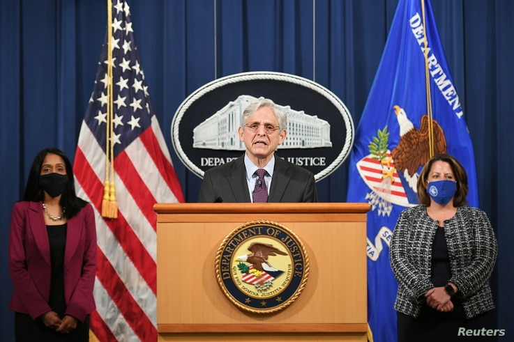 U.S. Attorney General Merrick Garland speaks at the Department of Justice in Washington, April 26, 2021.