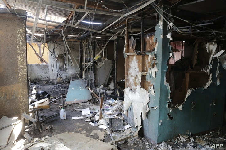 """View of the destroyed facilities of """"Radio Dario"""" in the Nicaraguan city of Leon, on April 24, 2018, after it was set on fire…"""