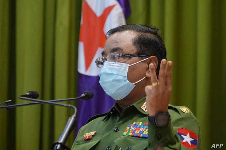 Myanmar's military spokeperson Brigadier-General Zaw Min Tun speaks during a press briefing at the Defence Service Museum in...