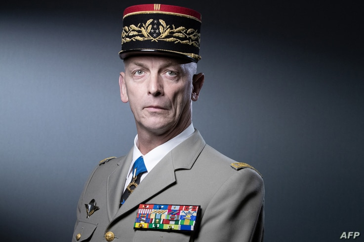 French armed forces chief of staff General Francois Lecointre poses during a photo session in Paris on April 27, 2021. (Photo…