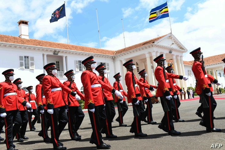 Kenya Defence Forces march past the State House in Nairobi, on May 4, 2021 during the official visit of Tanzanian President...