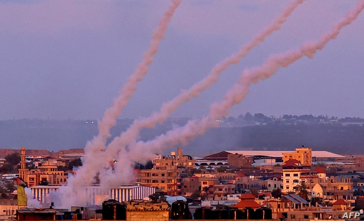 Rockets are launched towards Israel from the southern Gaza Strip, on May 17, 2021. (Photo by SAID KHATIB / AFP)