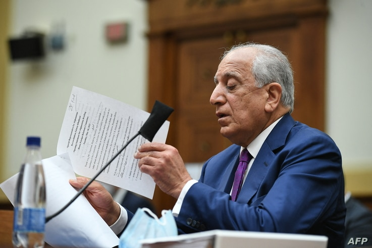 Zalmay Khalilzad, special representative on Afghanistan reconciliation, speaks during a House Foreign Affairs Committee hearing…