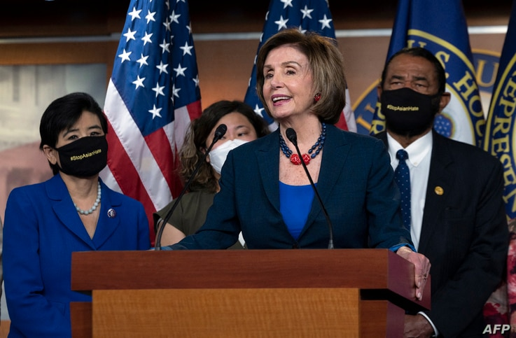 US Speaker of the House Nancy Pelosi (D-CA) speaks during a new conference with House Democrats and the Congressional Asian…