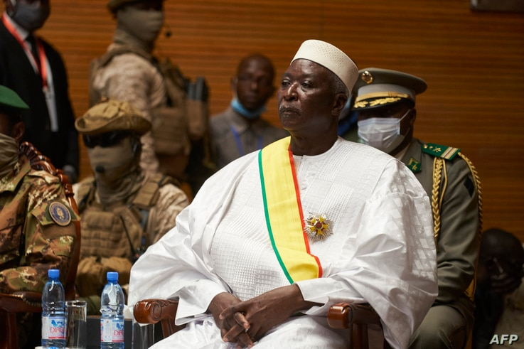 (FILES) In this file photo taken on September 25, 2020 transition Mali President Bah Ndaw is seen during his inauguration...