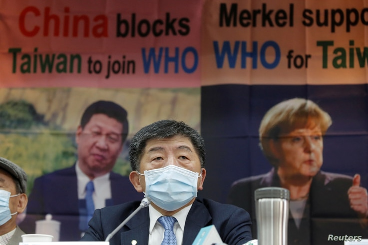 Taiwan Health Minister Chen Shih-chung holds a news conference about Taiwan's efforts to get into the World Health Organization...