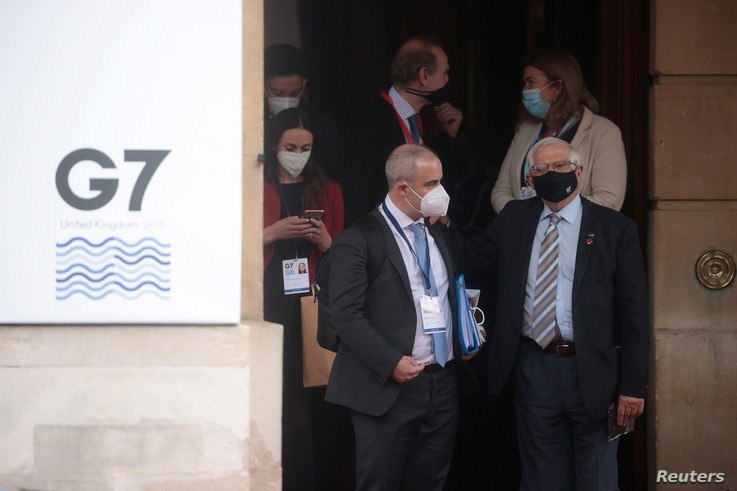 European High Representative of the Union for Foreign Affairs Josep Borrell leaves the G7 foreign ministers meeting at...