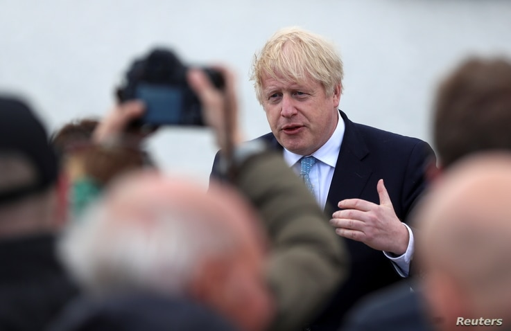 Britain's Prime Minister Boris Johnson speaks at Jacksons Wharf Marina in Hartlepool following local elections, Britain, May 7,…