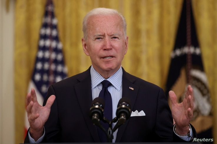 U.S. President Joe Biden delivers remarks on the April jobs report from the East Room of the White House in Washington, U.S.,...
