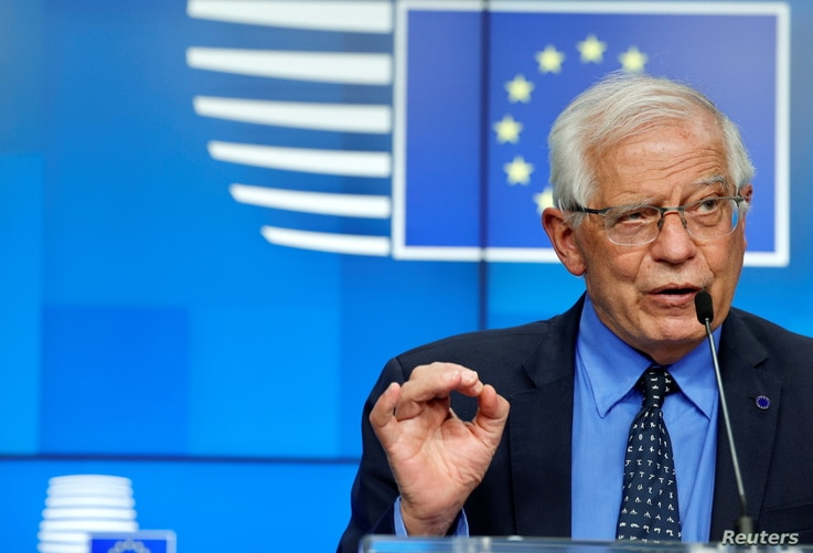 European Union foreign policy chief Josep Borrell speaks during a news conference after a meeting of EU foreign ministers at…