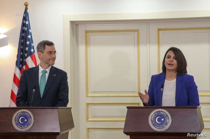 Libyan Foreign Minister Najla el-Mangoush speaks as she and US Acting Assistant Secretary of State for Near Eastern Affairs Joey Hood deliver a joint statement, in Tripoli, Libya May 18, 2021.