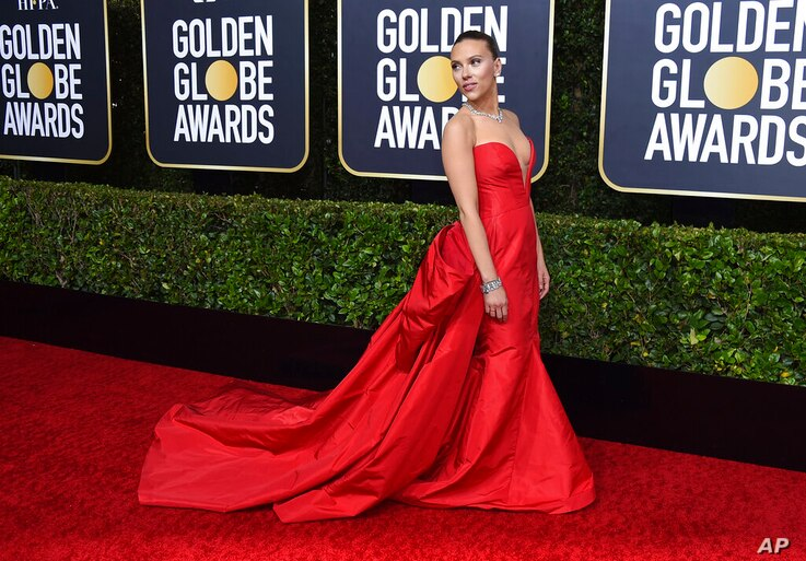 Scarlett Johansson arrives at the 77th annual Golden Globe Awards at the Beverly Hilton Hotel on Sunday, Jan. 5, 2020, in…