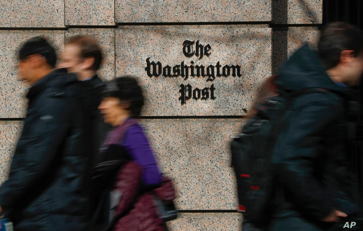 FILE - This Thursday, Feb. 21, 2019, file photo shows the One Franklin Square Building, home of The Washington Post newspaper,…
