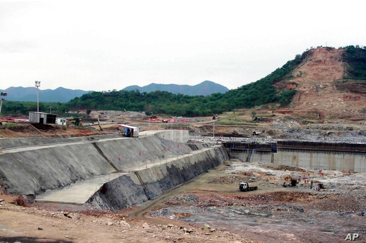 FILE - In this June 28, 2013 file photo, construction work takes place, at the site of the Grand Ethiopian Renaissance Dam near...