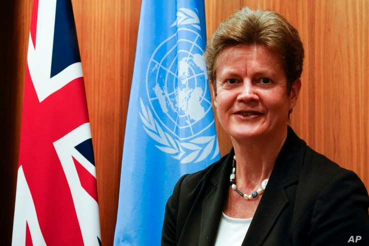 British Ambassador to the United Nations Barbara Woodward poses for a photo, Tuesday, Jan. 5, 2021, in New York. (AP Photo/Mary…
