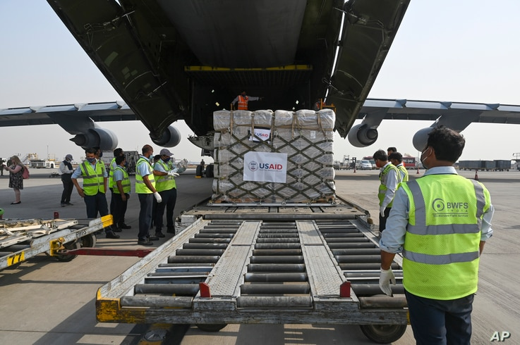 Relief supplies from the United States in the wake of India's COVID-19 situation arrive at the Indira Gandhi International…