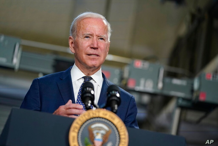 President Joe Biden speaks at Tidewater Community College, Monday, May 3, 2021, in Portsmouth, Va. Biden and the first lady are...
