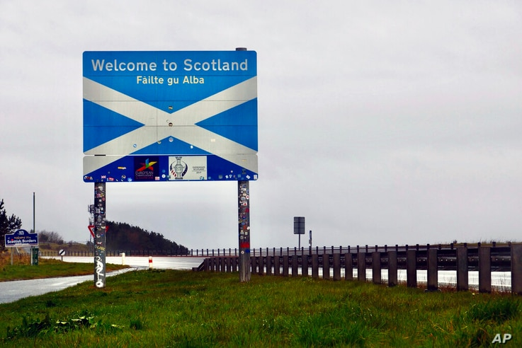 The Scottish side of the border between Scotland and England at Berwick-Upon-Tweed, Scotland, Tuesday, May 4, 2021. Scotland...