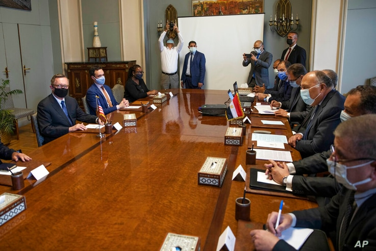 U.S. Special Envoy for the Horn of Africa Jeffrey Feltman, left, meets with Egyptian Foreign Minister Sameh Shoukry, third...