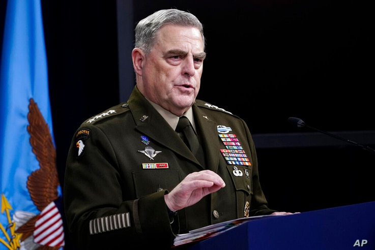 Chairman of the Joint Chiefs of Staff Gen. Mark Milley speaks during a briefing at the Pentagon in Washington, Thursday, May 6,…