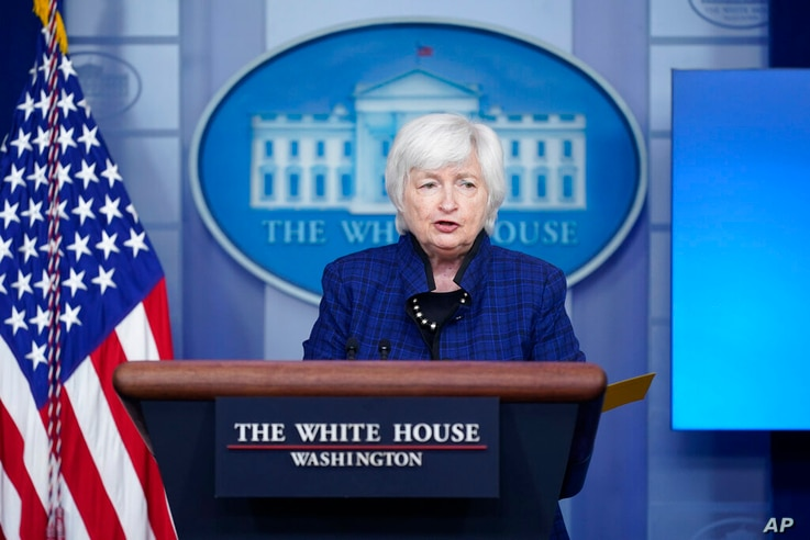 Treasury Secretary Janet Yellen speaks during a press briefing at the White House, Friday, May 7, 2021, in Washington. (AP...