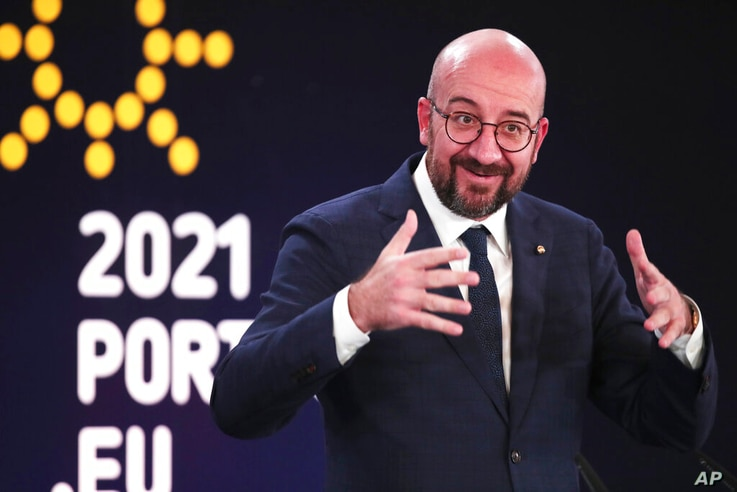 European Council President Charles Michel speaks during a media conference at an EU summit in Porto, Portugal, Saturday, May 8,…