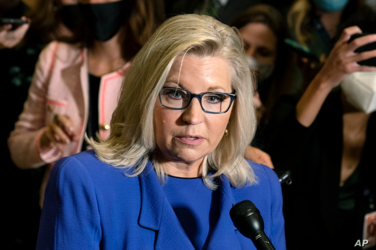 Rep. Liz Cheney, R-Wyo., speaks to reporters after House Republicans voted to oust her from her leadership post.