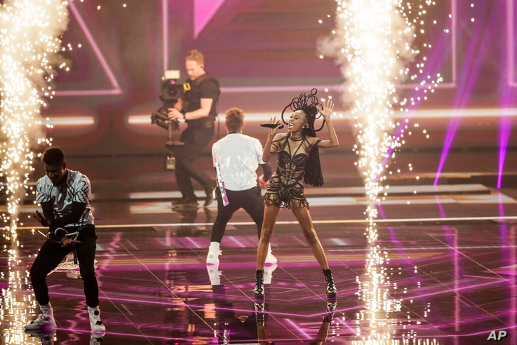 Eden Alene from Israel performs during rehearsals at the Eurovision Song Contest at Ahoy arena in Rotterdam, Netherlands,…