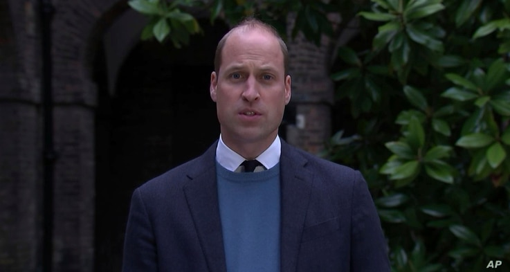 In this image made from video on Thursday, May 20, 2021 provided by ITN, Britain's Prince William makes a statement following…