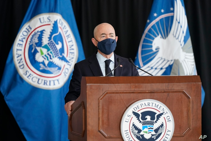 Secretary of Homeland Security Alejandro Mayorkas speaks about aviation security ahead of the summer travel season during a…