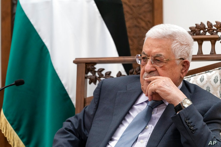 Palestinian President Mahmoud Abbas pauses while speaking during a joint statement with Secretary of State Antony Blinken,…