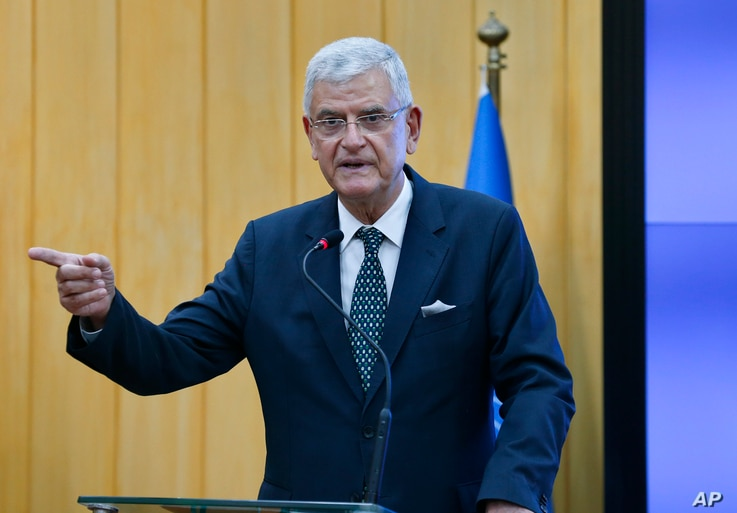 UN General Assembly President Volkan Bozkir speaks during a joint press conference with Pakistan's Foreign Minister Shah…