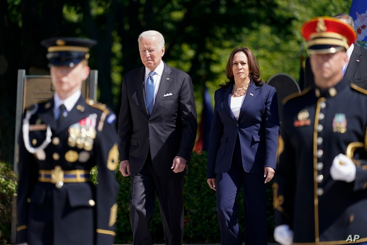 President Joe Biden arrives with Vice President Kamala Harris to place a wreath at the Tomb of the Unknown Soldier in Arlington.