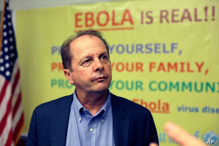 Dr Tom Kenyon, director of the Center for Disease Control's Center for Global Health, listens to a question at a news…