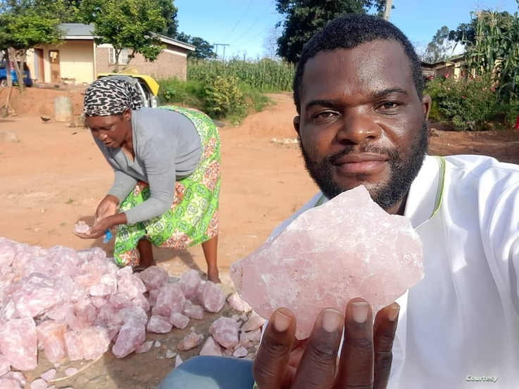 Percy Maleta diplays some of the minerals in Malawi. (Courtesy: of Nyasa Mining Corperative)