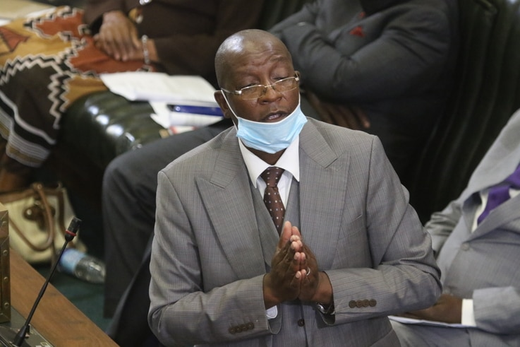 Zimbabwe Justice Minister Ziyambi Ziyambi – who is from the ruling ZANU-PF party – told reporters in Harare on May 4, 2021, that he was happy about the constitutional amendments.(VOA/Columbus Mavhunga)