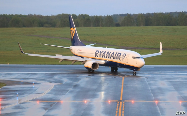 A Boeing 737-8AS Ryanair passenger plane flight FR4978 from Athens, Greece, that was intercepted and diverted to Minsk by Belarus authorities, landing at Vilnius International Airport, its initial destination, Lithuania, May 23, 2021.