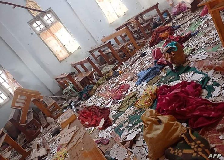 A damaged church in which four people taking refuge were killed in an army shelling in Loikaw in Myanmar's eastern Kayah State as clashes continue in the area between the army and the local rebel fighters.