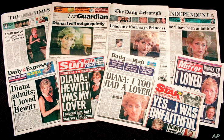 FILE - This Nov. 21, 1995, photo shows a selection of front pages of most of Britains's national newspapers with their reaction to Princess Diana's television interview with BBC journalist Martin Bashir.