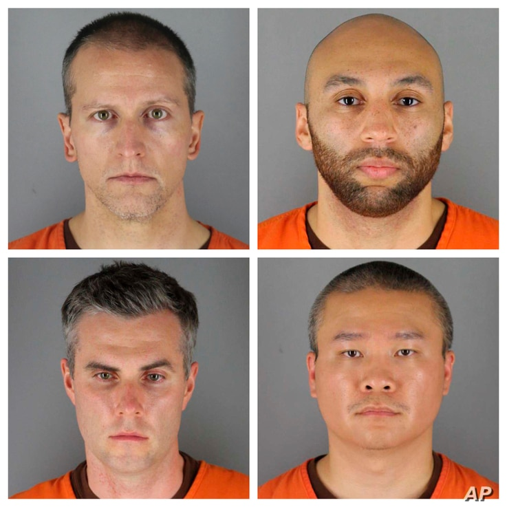 FILE - This combination of photos provided by the Hennepin County Sheriff's Office in Minnesota, June 3, 2020, shows, top row from left, Derek Chauvin, and J. Alexander Kueng, bottom row from left, Thomas Lane and Tou Thao.