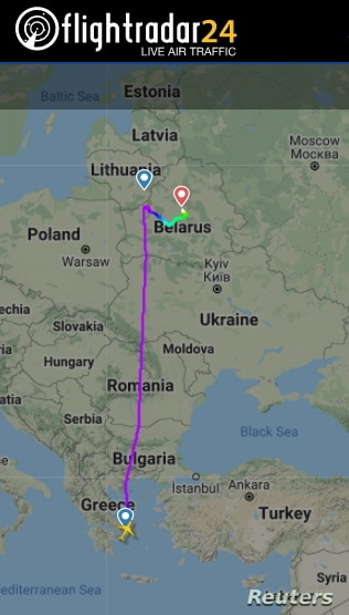 A still image shows a flight path of Ryanair FR4978 on May 23, 2021 on its way from Athens, Greece to Lithuanian capital Vilnius and diverted to Minsk, Belarus, obtained by Reuters.