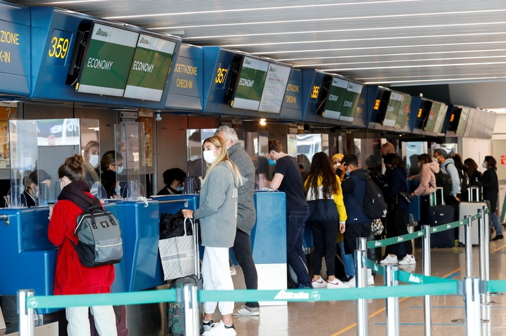 A view of the Alitalia check-in counter at Fiumicino International Airport as talks between Italy and the European Commission over the revamp of Alitalia are due to enter a key phase, in Rome, Italy, April 15, 2021.