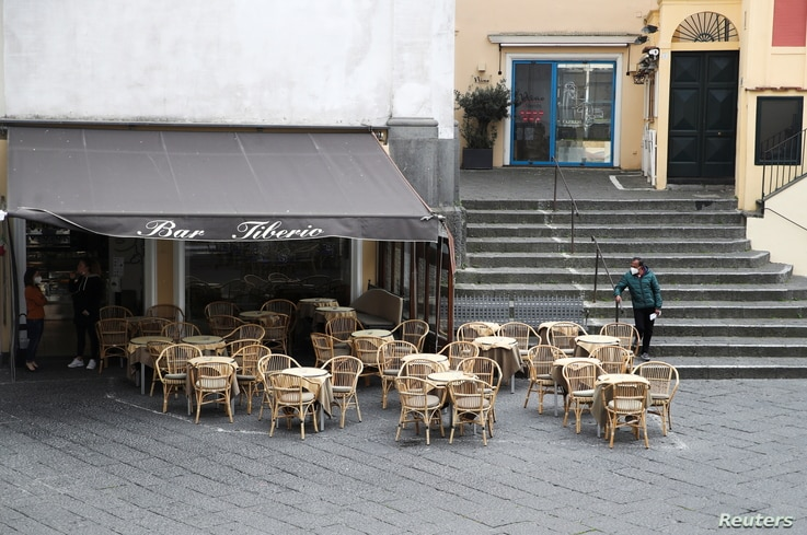 A near empty bar is seen in Capri, a southern Italian island that relies heavily on foreign tourism, despite the loosening of COVID-19 restrictions in much of the country, April 27, 2021.