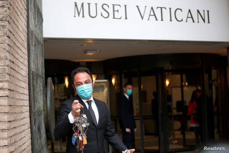 Gianni Crea, the museum 'clavigero', shows keys to the Vatican Museums following its reopening after weeks of closure, as COVID-19 restrictions ease, at the Vatican, May 3, 2021.