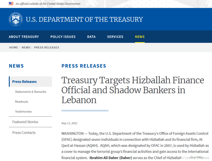 A screenshot of a press release by the U.S. Department of the Treasury, announcing sanctions against seven Lebanese allegedly linked to Hezbollah, May 11, 2021.