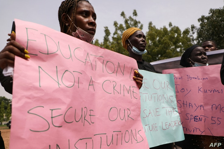 Parents and relatives of students from the Federal College of Forestry Mechanization in Kaduna who have been abducted, hold…