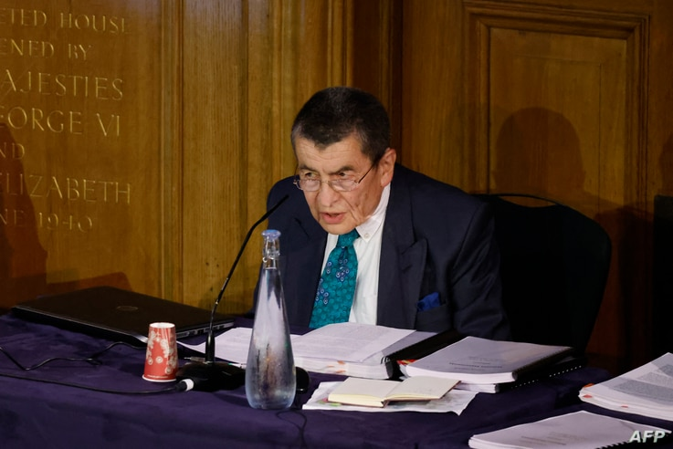 """Chair of the panel Geoffrey Nice gives the opening address on the first day of hearings at the """"Uyghur Tribunal"""", a panel of UK…"""