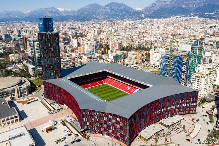 """An aerial view of the """"Air Albania"""" stadium in Tirana, Albania, March 26, 2021. Picture taken with a drone. REUTERS/Florion Goga"""